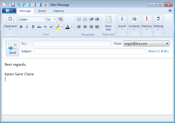 outlook template message